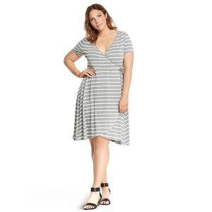 TORRID Gray White Striped Surplice Skater Dress 3